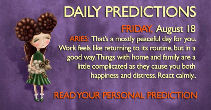 Daily Predictions for Friday, 18 August2017